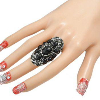 Beads Water Drop Ring - BLACK ONE-SIZE