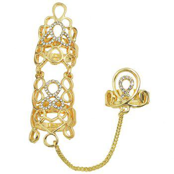 Hollow Out Rhinestoned Ring - GOLDEN ONE-SIZE
