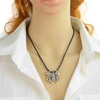 Spider Faux Leather Rope Necklace - BLACK