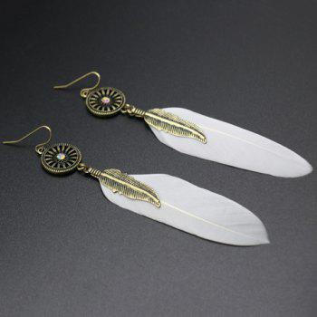 Feather Leaf Round Drop Earrings - WHITE