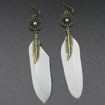 Feather Leaf Round Drop Earrings