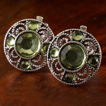 Pair of Round Faux Gemstone Earrings