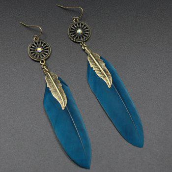 Pair of Long Style Feather Round Earrings - BLACKISH GREEN