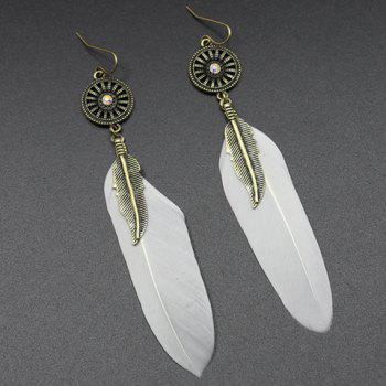 Pair of Trendy Long Style Feather Earrings For Women