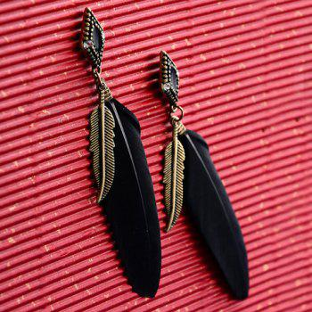 Vintage Feather Drop Earrings - BLACK