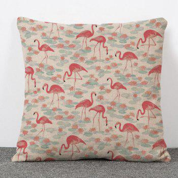 High Quality Flamingo and Lotus Pattern Flax Pillow Case(Without Pillow Inner)
