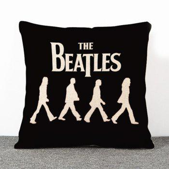 High Quality Black The Beatles Pattern Flax Pillow Case(Without Pillow Inner)