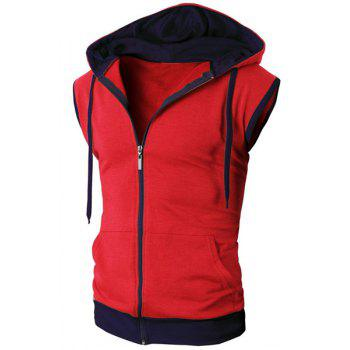 Trendy Drawstring Color Block Spliced Sleeveless Men's Waistcoat - RED RED