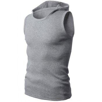Trendy Hooded Solid Color Sleeveless Men's Tank Top - GRAY M