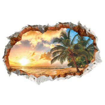 High Quality Sunny Beach Pattern Broken Wall Shape Removeable 3D Wall Sticker - COLORMIX