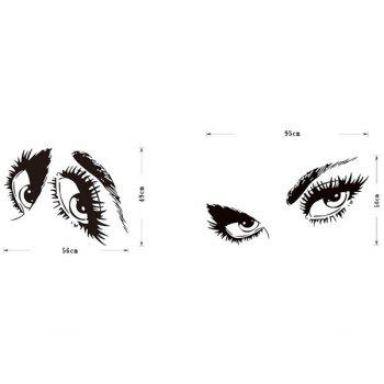 High Quality Sexy Eye Pattern Removeable Wall Sticker - BLACK