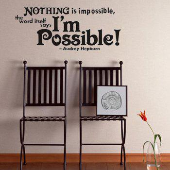 High Quality Black English Sentence Pattern Removeable Wall Stickers - BLACK