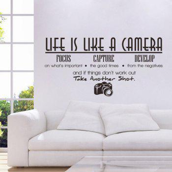 High Quality Black Camera and Letter Pattern Removeable Wall Stickers - BLACK