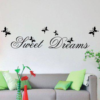 High Quality Sweet Dream Pattern Removeable Wall Sticker - BLACK