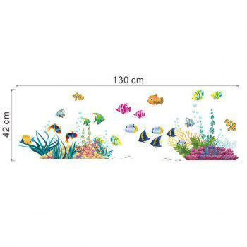 High Quality Cartoon Fishes Pattern Removeable Wall Sticker - COLORMIX