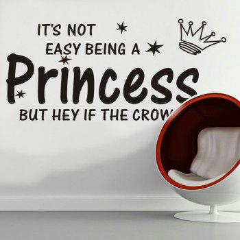 High Quality Crown and Letter Pattern Removeable Wall Sticker - BLACK