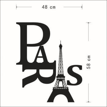 High Quality Eiffel Tower and Letter Pattern Removeable Wall Sticker - BLACK