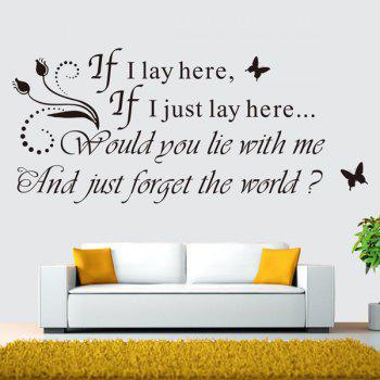 High Quality Romantic Sentence Pattern Removeable Wall Sticker - BLACK