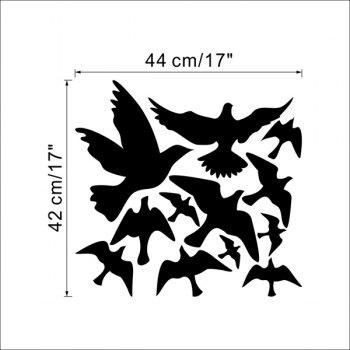 High Quality Solid Color Flying Birds Pattern Removeable Wall Sticker - BLACK
