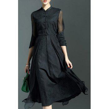 Elegant Women's Mandarin Collar 3/4 Sleeve Midi Dress