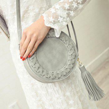 Fashionable Tassels and PU Leather Design Crossbody Bag For Women -  GRAY