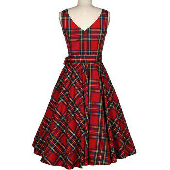 Vintage Women's Jewel Neck Sleeveless Plaid Belted A-Line Dress - RED XL