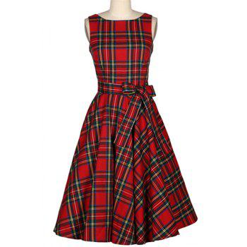 Vintage Women's Jewel Neck Sleeveless Plaid Belted A-Line Dress