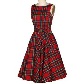 Vintage Women's Jewel Neck Sleeveless Plaid Belted A-Line Dress - RED S