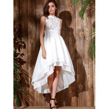 Noble Sleeveless Layered Asymmetric White Maxi Gothic Dresses For Women - WHITE WHITE