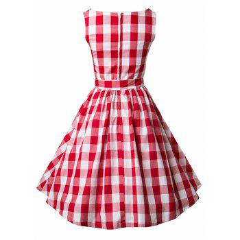 Retro Style Round Neck Sleeveless Plaid Women's Dress