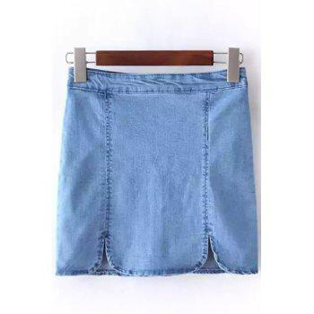 Stylish High Waist Solid Color Denim Women's Mini Skirt