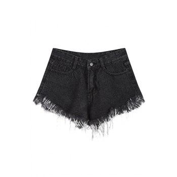 Trendy Frayed Wide Leg Women's Denim Shorts