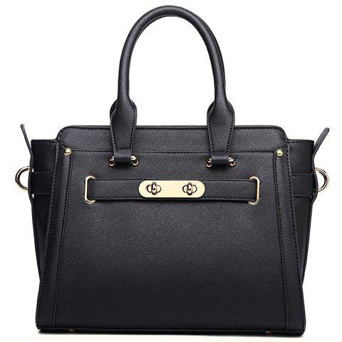 Elegant PU Leather and Solid Colour Design Tote Bag For Women - BLACK