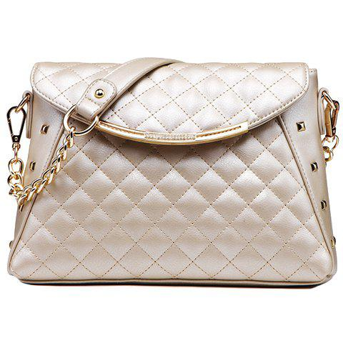 New Arrival PU Leather and Checked Design Shoulder Bag For Women - WHITE