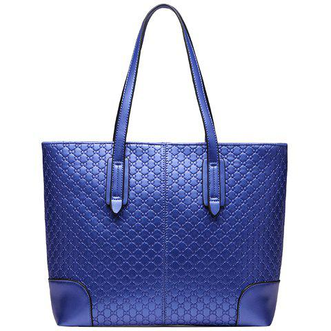 Fashion Embossing and PU Leather Design Shoulder Bag For Women - BLUE