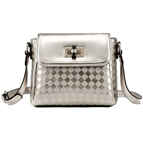 Trendy Cover and Checked Design Crossbody Bag For Women - CHAMPAGNE