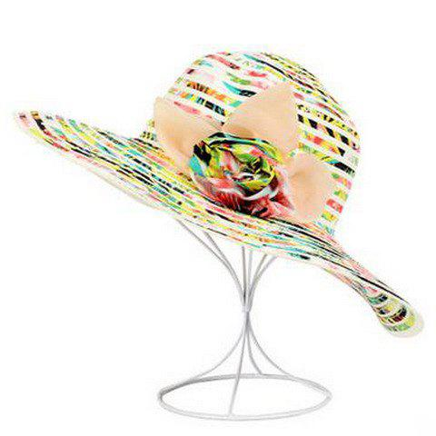 Chic Handmade Flower and Stripy Embellished Sun Hat For Women - YELLOW