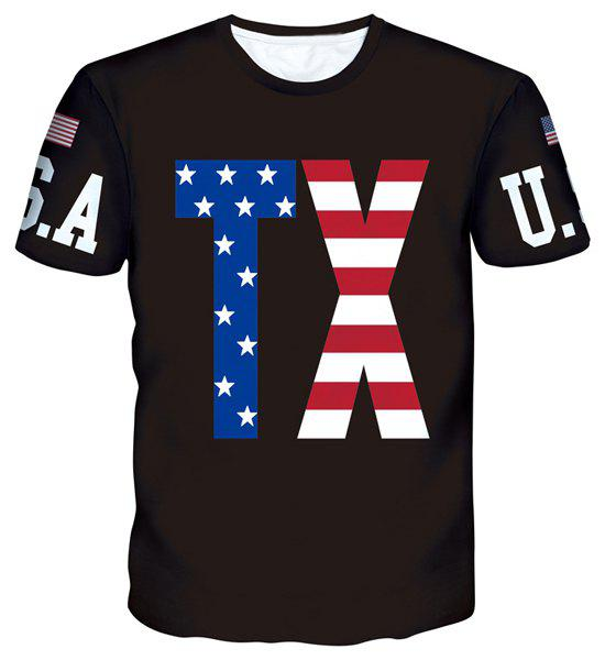 American Flag Letters Print Round Neck Short Sleeves Men's T-Shirt - BLACK S