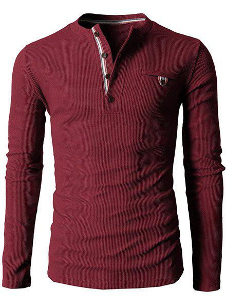 Simple Style Round Neck Exquisite Button Design Long Sleeve Men's T-Shirt - WINE RED M