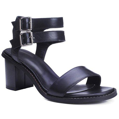 Casual Chunky Heel and Buckle Design Sandals For Women - BLACK 34