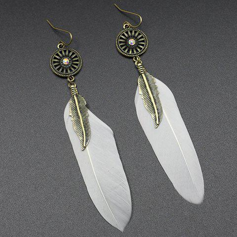 Pair of Trendy Long Style Feather Earrings For Women - WHITE