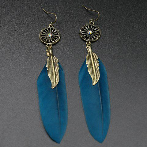 Pair of Long Style Feather Round Earrings