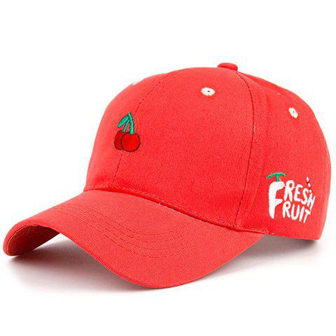 Chic Cherry Embroidery Red Baseball Cap For Women - RED