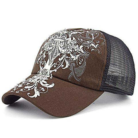 Chic Openwork Mesh Vintage Convoluted Pattern Baseball Cap For Women - COFFEE