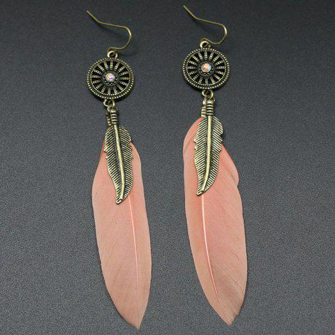 Pair of Feather Round Drop Earrings - LIGHT PINK