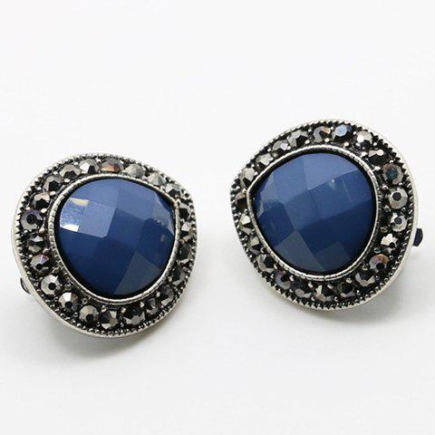 Pair of Chic Faux Gemstone Clip Earrings For Women