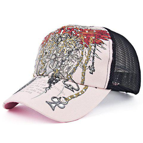 Chic Rhinestone Embellished Retro Pattern Baseball Cap For Women - PINK