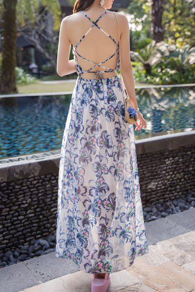 Bohemian Sleeveless Floral Print Criss-Cross Women's Dress - DEEP BLUE S