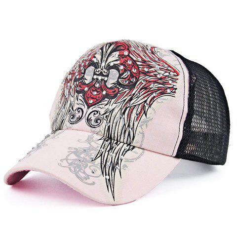 Chic Retro Spearhead and Wings Pattern Rhinestone Women's Baseball Cap - PINK