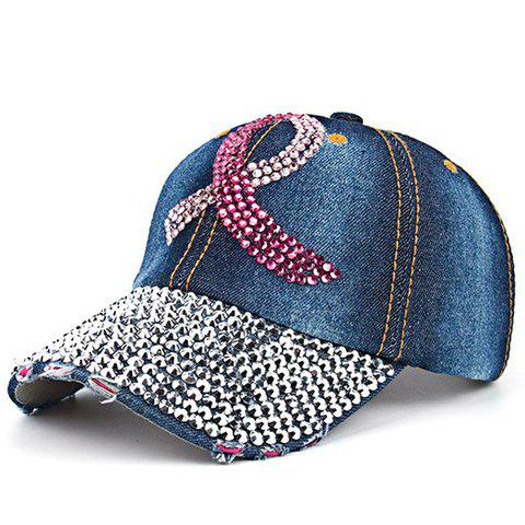 Chic Ribbon Shape Rhinestones Embellished Baseball Cap For Women - DENIM BLUE